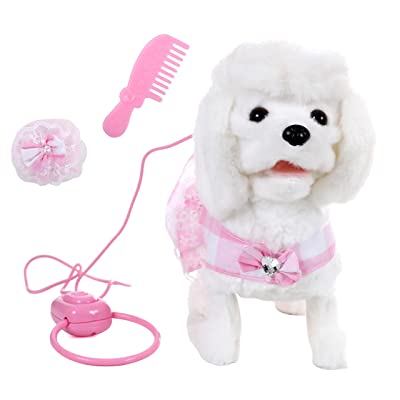 IQ Toys Walking and Barking Plush Poodle Dog Remote Control with Leash, and 3 Puppy Care Accessories: Toys & Games