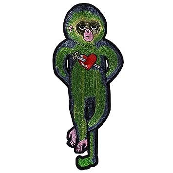 1 x Grün Affe mit Herz Pfeil Stoff Patches Bügeln auf Stickerei ...