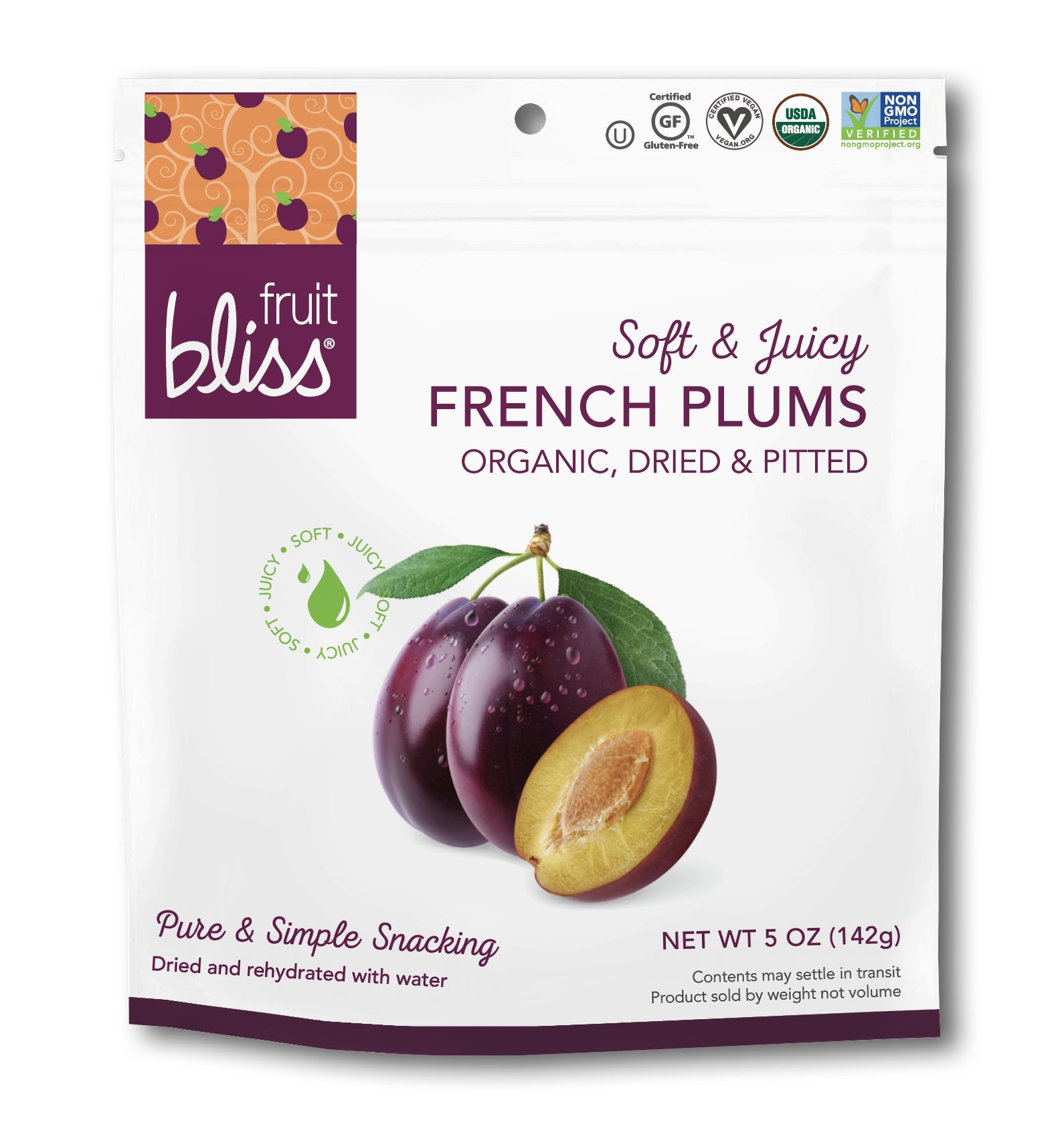 Fruit Bliss Organic French Agen Plums - Plum - 5 oz 3 Pack