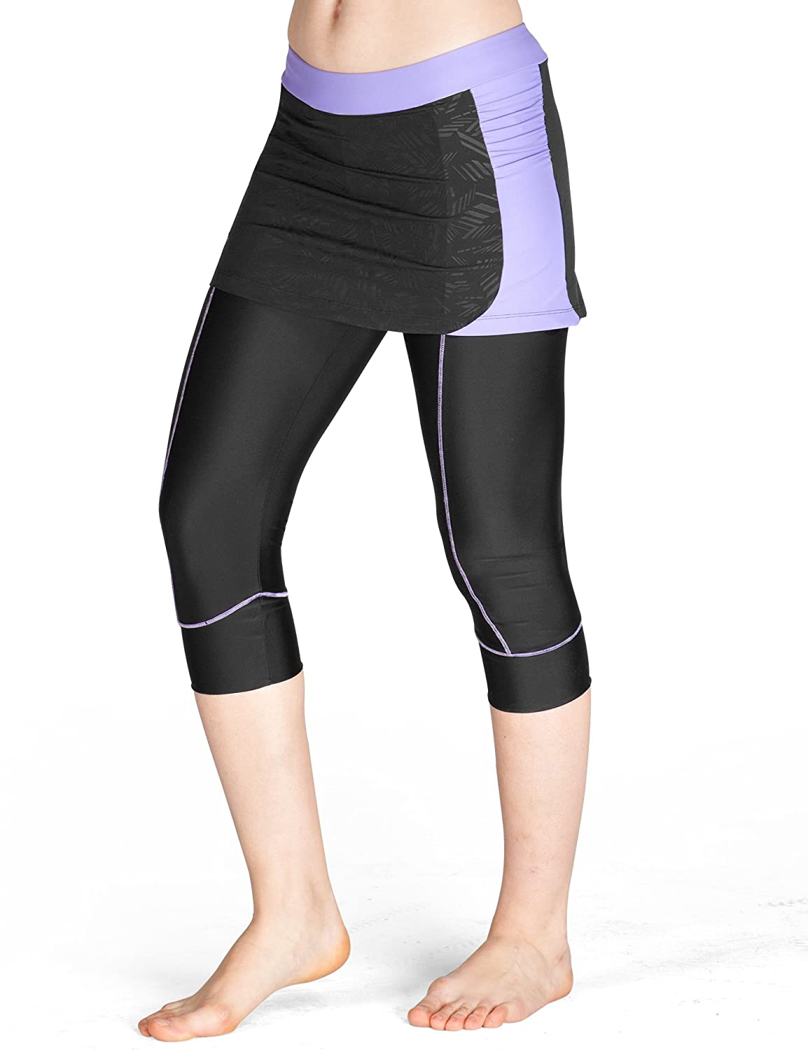 Lameda Women's Cycling Capri Pants Padded Skirted Shorts Cropped Leggings for Running Biking Purple Small 1150