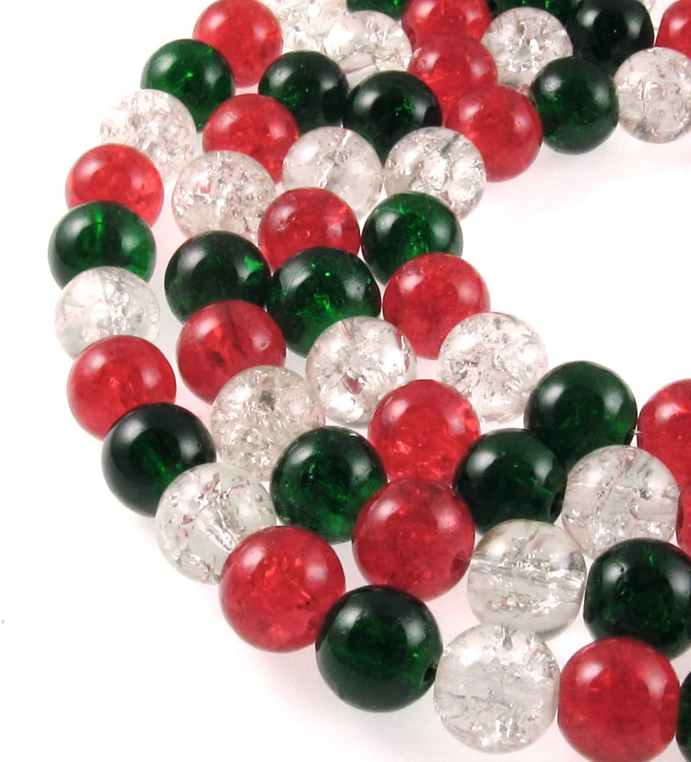 200pcs 4mm Red /& Clear Crackle Glass Beads