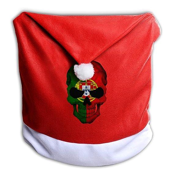 Christmas In Portugal 2019.Leihaeg Portugal Flag Skull Santa Clause Red Hat Chair Back