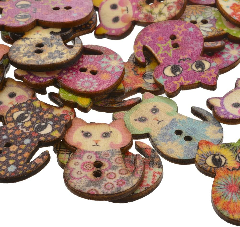 Wooden Buttons Sets of 10-3 sizes Owl pattern