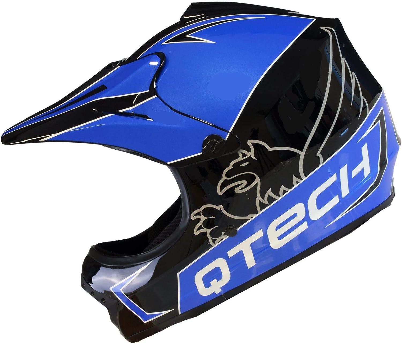 Qtech Childrens KIDS MOTOCROSS MX Style Helmet BMX Quad Bike Pulsar Orange Large