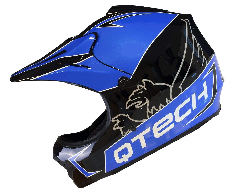 53-54cm Casque de Moto pour Enfant Motocross Cross Off-Road BMX Cycle Noir Brillant ATV Quad Petit Bleu