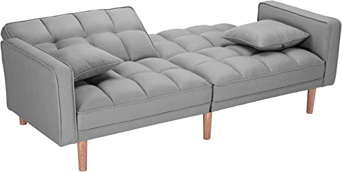 Futon Sofa Bed Sleeper Loveseat,JULYFOX 2 Position Recliner Couch Tufted Upholstered Fabric Sofa