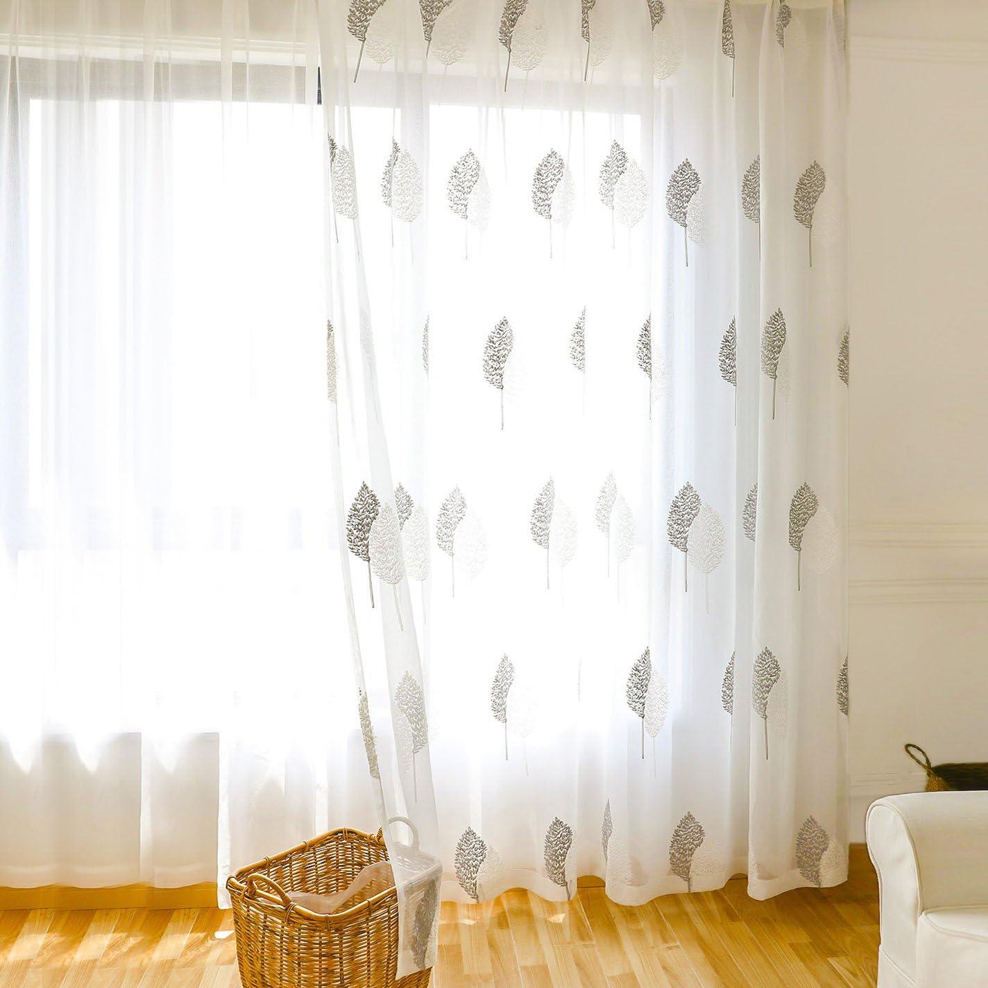 VOGOL White Sheer Curtains Banyan Leaves Embroidered Design Rod Pocket Window Drape