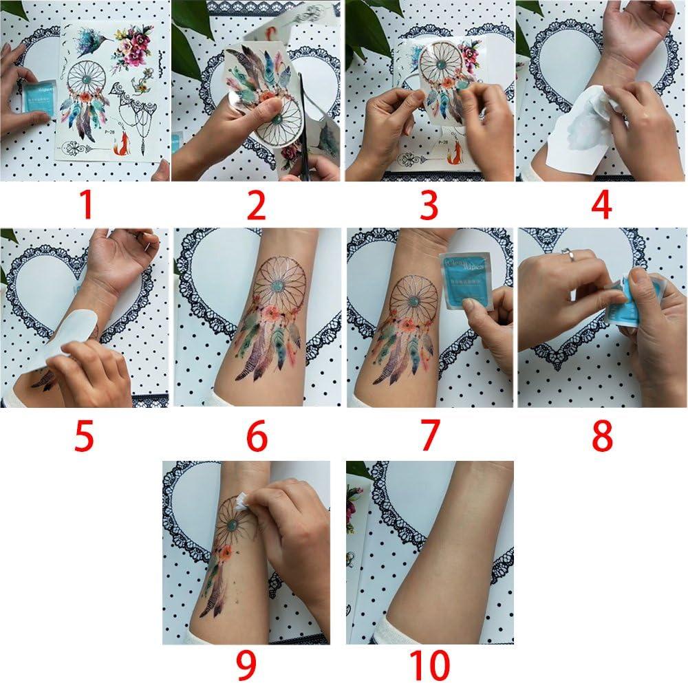 20 hojas de pequeños tatuaje temporales negros, adhesivos para el ...
