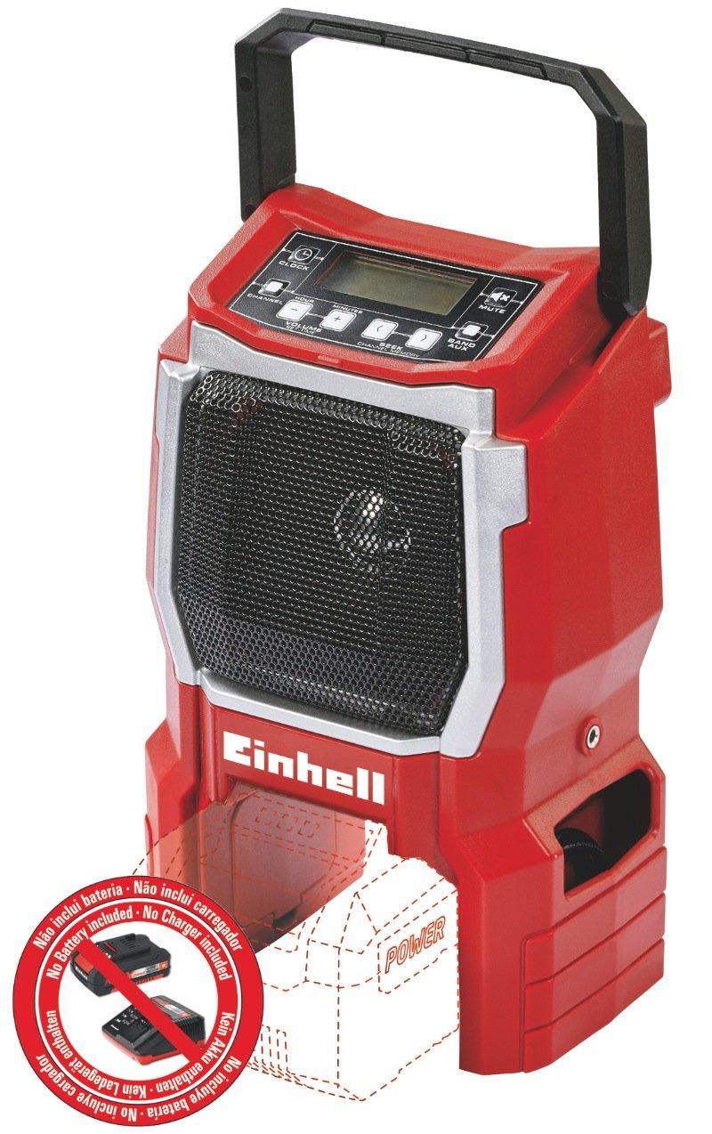 Einhell Radio sans fil sur batterie TE-CR 18 LI Solo - Power X-Change (18V, Fréquence FM 87,5 à 108 MHz - Fréquence  AM 522 à1620 KHz, Livré avec câble pour téléphone portable, lecteur MP3) – VER