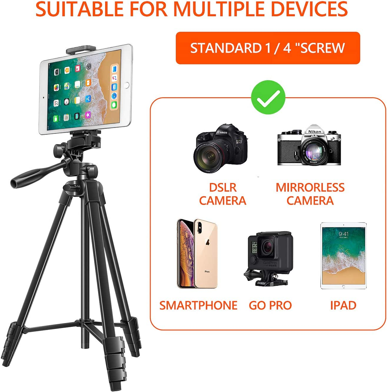 Tripod for Camera, 55 Inch Lightweight Tripod for Phone with 2 in 1 Holder for Tablet and Cellphone Aluminum Alloy 3-Way Head Tripod for DLSR Camera with Carrying Bag and Bluetooth Remote Control : Camera & Photo