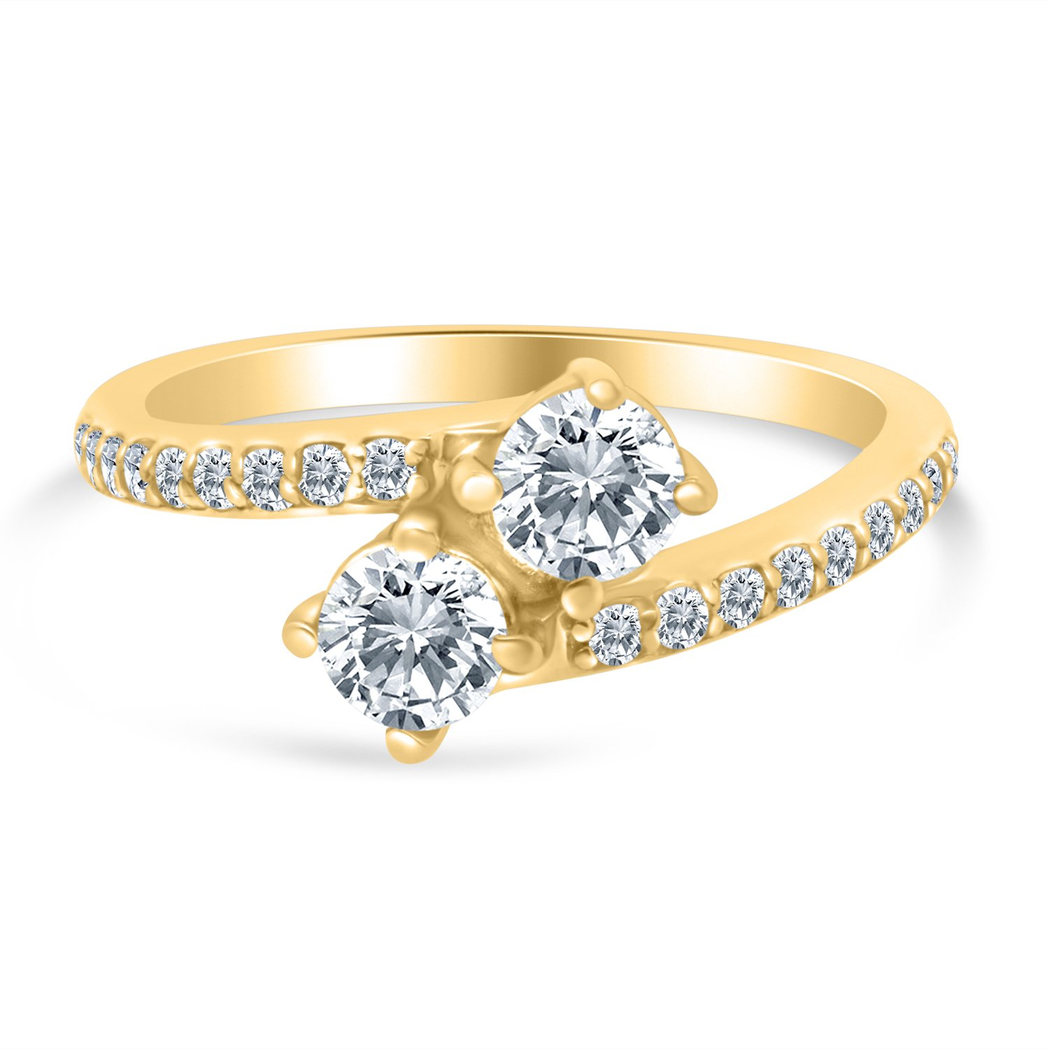 1.00ctw Diamond Two Stone Engagement Ring in 14k Yellow Gold