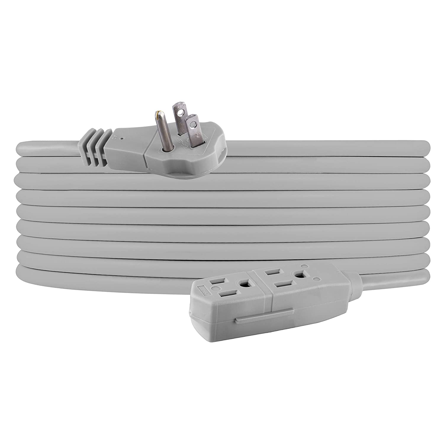 GE Indoor Office Extension Cord, Extra Long 25ft Power Cable, 3 Grounded Outlets, 3 Prong, Low-Profile Right Angle Flat Plug, 16 Gauge, UL Listed, Gray, 43025