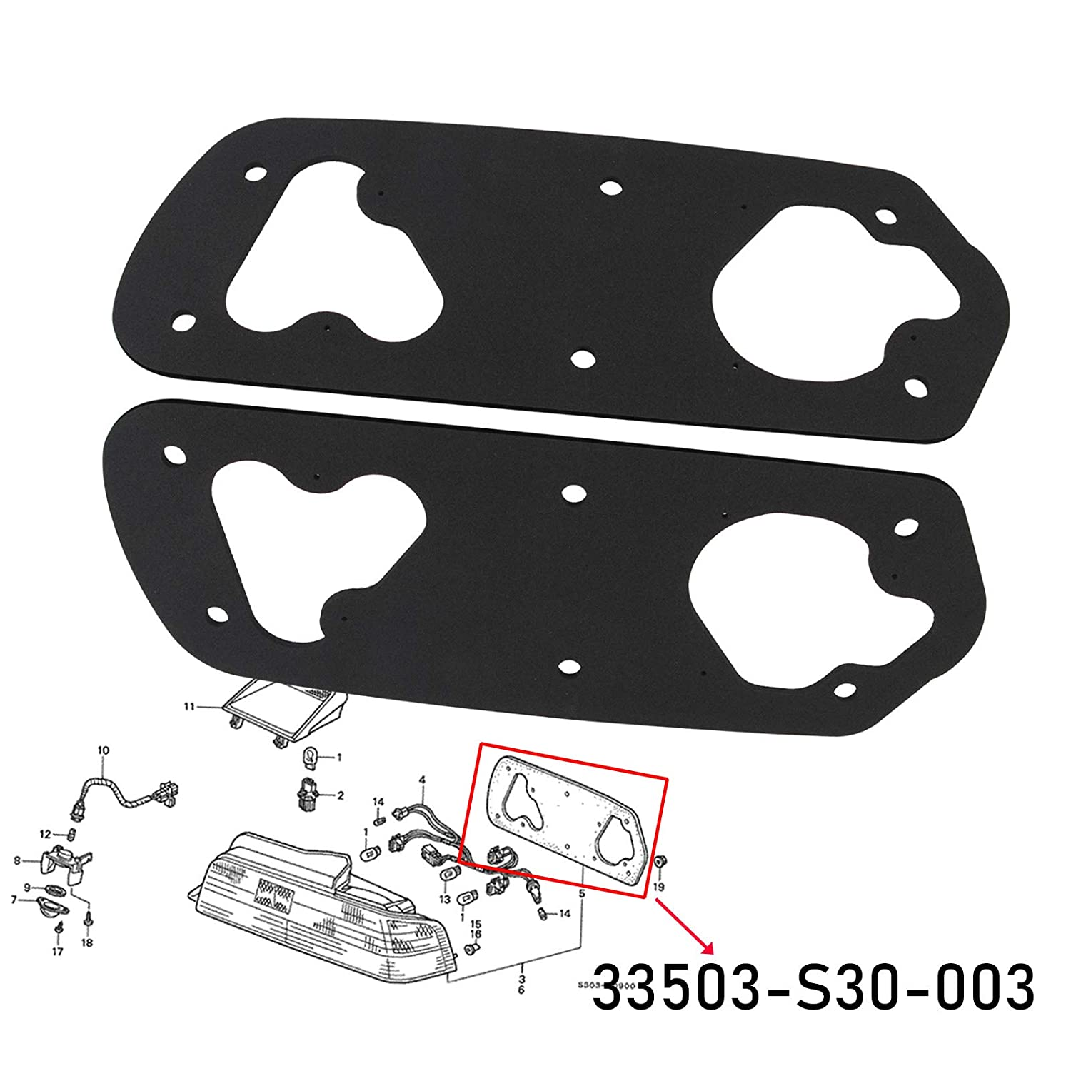 Taillight Gaskets for Honda Prelude 1997-2001 Taillight Improved Gasket Gaskets 1 Pair 33503-S30-003
