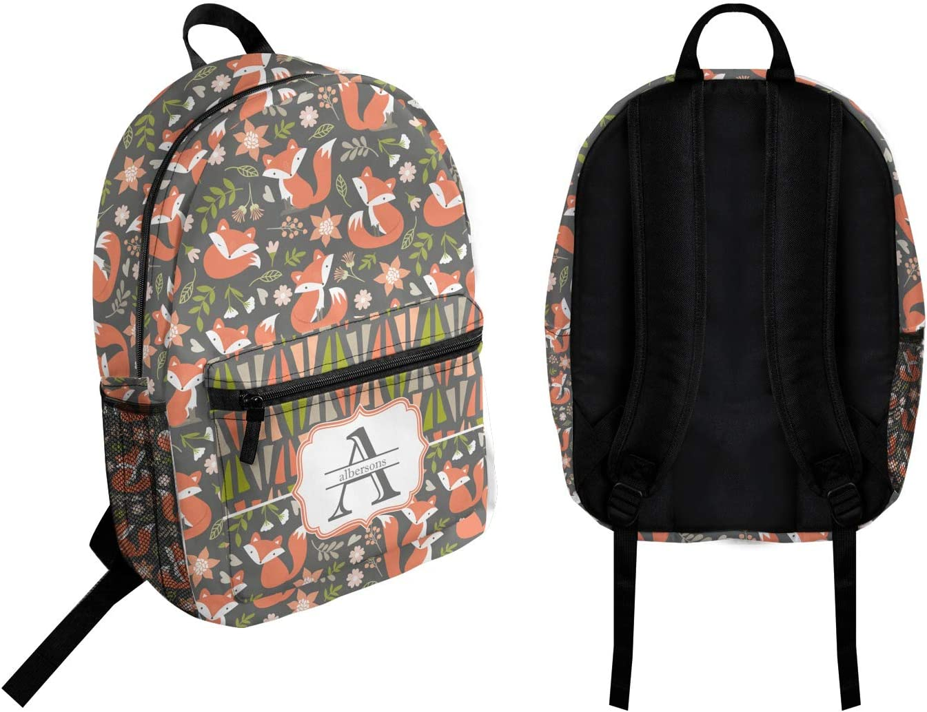 Personalized Fox Trail Floral Student Backpack