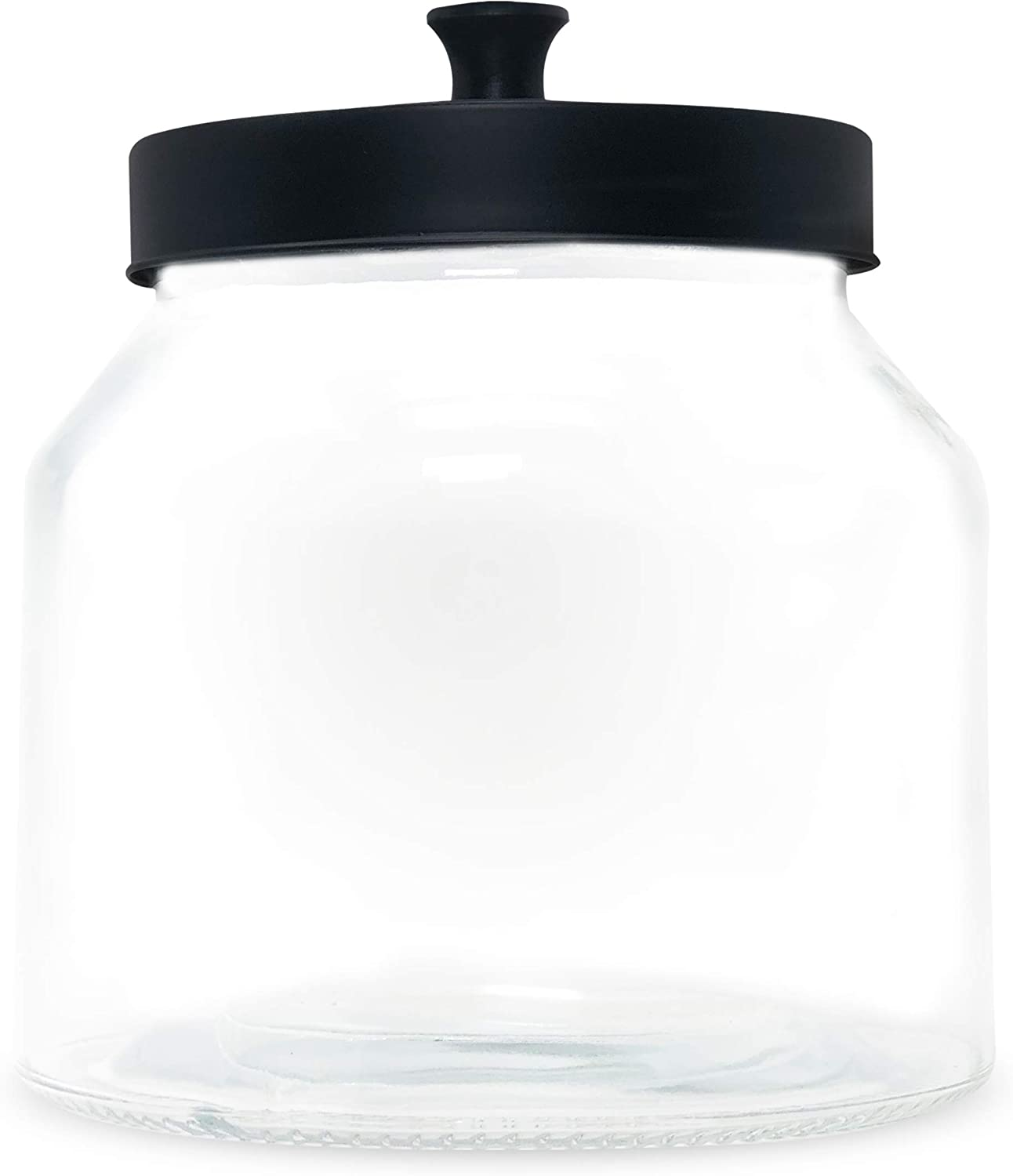 Clear Glass Storage Container Jar with Metal Lid for Kitchen Pantry, Recyclable Canister for Cookie, Dry Fruits, Spices, Transparent Glass Jars with Airtight Lids (16 cm x 16 cm x 18 cm)