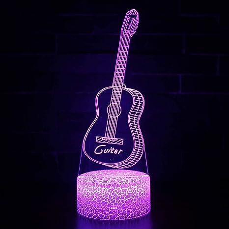 Vitila Guitarra 3D Led Ilusión Luz Noche Luz Mesita De Noche Lámpara De Mesa Cambio Colorido