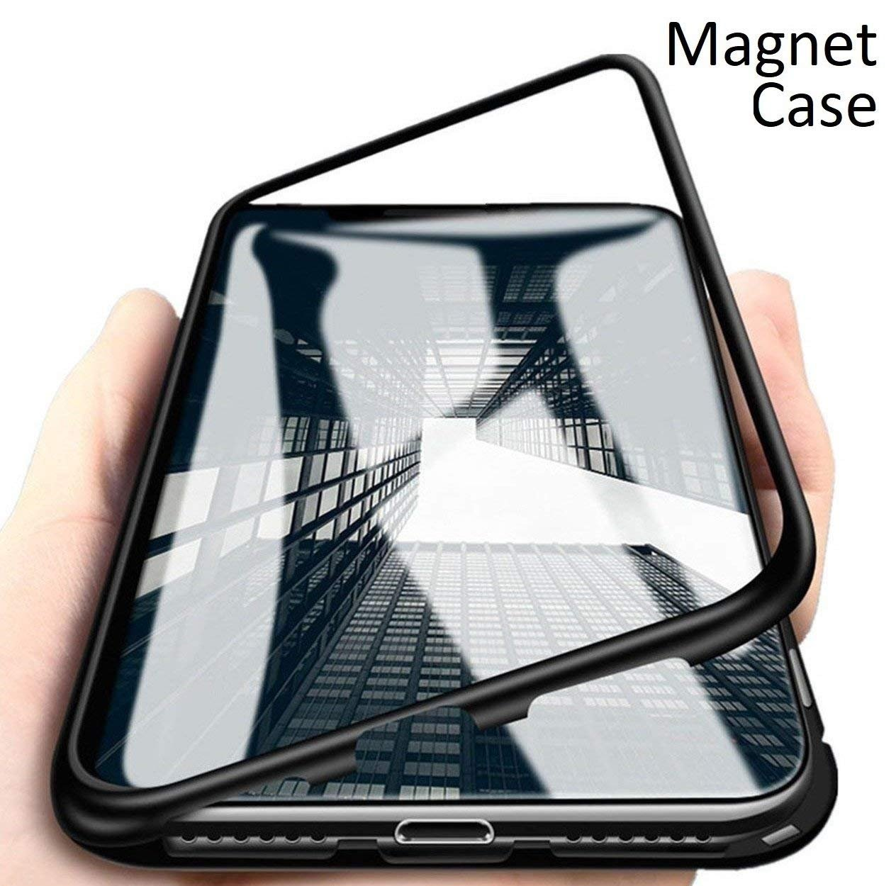 pretty nice 81805 96878 ERIT Samsung Galaxy S8 Plus Case,Ultra Slim Magnetic Cover Metal Frame &  Tempered Glass Back, Built-in Powerful Magnet [Wireless Charging Support]  ...
