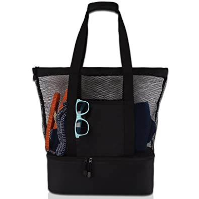 Mesh Beach Tote Bag with Zipper Top and Insulated Picnic Cooler with a free  waterproof pouch 72f35858c8