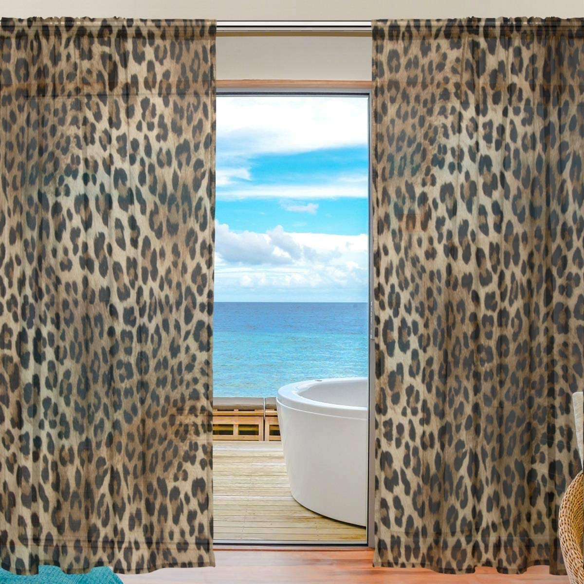 MAHU Sheer Curtains Animal Leopard Print Pattern Window Voile Curtain Drapes for Living Room Bedroom Kitchen Home Decor 55×78 inches, 2 Panels