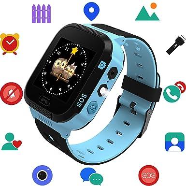 Niños Reloj Inteligente con GPS Tracker, Juegos con la cámara Flash luz Nocturna Touch Anti