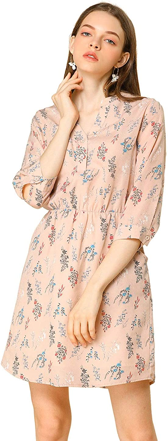 Allegra K Women's Button Down Floral Print V Neck 3/4 Sleeves Vintage Shirt Dress