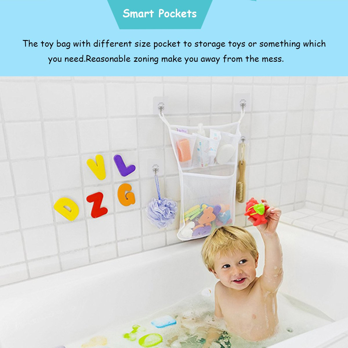 fast-shop Bathroom Mesh Net Bag Baby Bath Toys Storage Bag Wall Hanging Bag with Strong Sucker M Durable and Practical