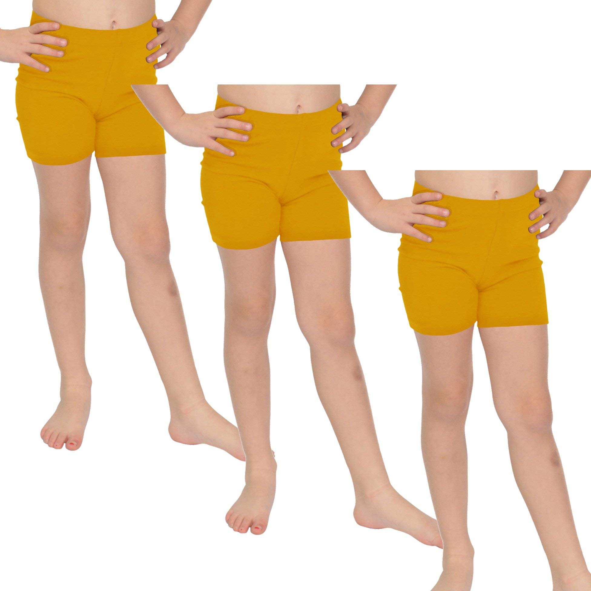 Stretch is Comfort Girl's Cotton Biker Shorts Set of 3 Pieces Mustard Yellow X-Large by Stretch is Comfort