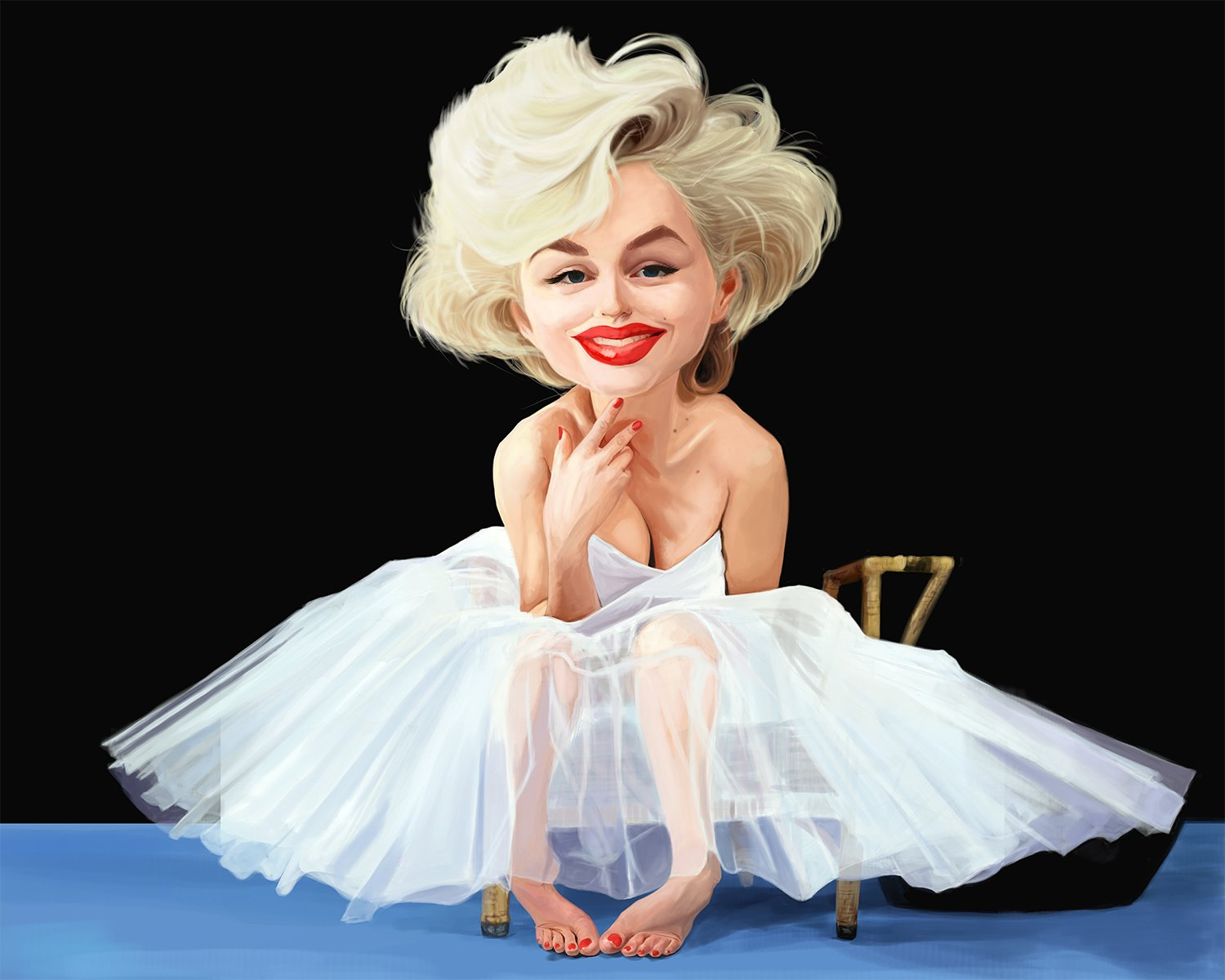 Marilyn Monroe Caricature Limited Edition (1 of 20) Large Size Giclee on Canvas Artwork: Signed, Numbered, Certificate of Authenticity, Ready to Hang, Great Home & Office Wall Decor, Gift