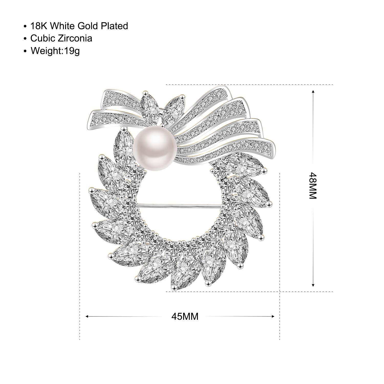 Spille di girasole 18 carati placcato oro con 5A zirconi bianchi Perla spilla dacqua dolce spilla per donne Fibbia per maglione cappotto sciarpa