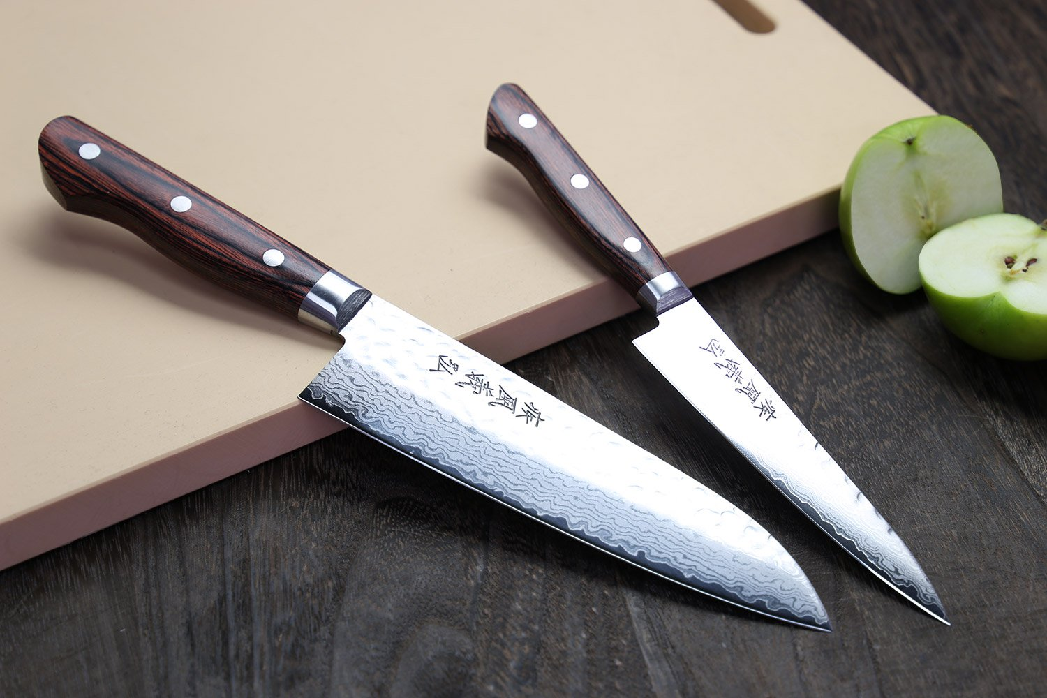 Yoshihiro Vg10 Hammered Damascus Stainless Japanese Chefs Knife Santoku 7Inch and Petty Set (Set)