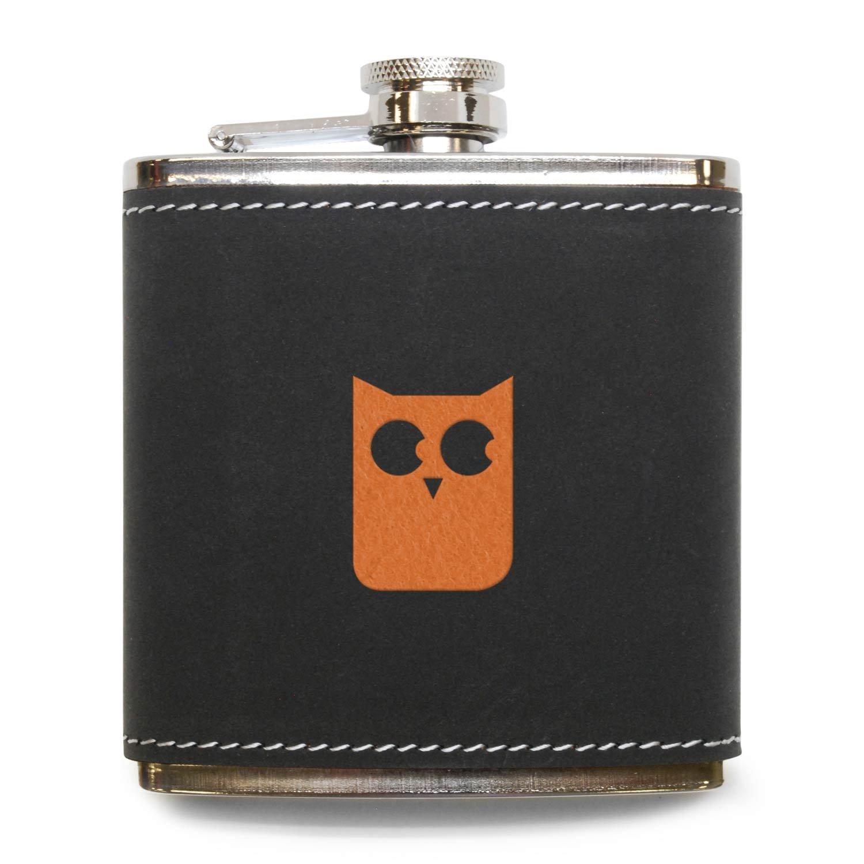 激安な モダンGoods Shopキュートフクロウフラスコ – Made B071WKVW92 ステンレススチールボディグレーレザーカバー – – 6オンスレザーヒップフラスコ – Made in USA B071WKVW92, マツダマチ:7e258b0a --- a0267596.xsph.ru