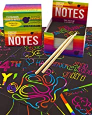 Rainbow Scratch Off Mini Notes + 2 Stylus Pens Kit: 150 Sheets of Rainbow Scratch Paper for Kids Arts and Crafts, Airplane o