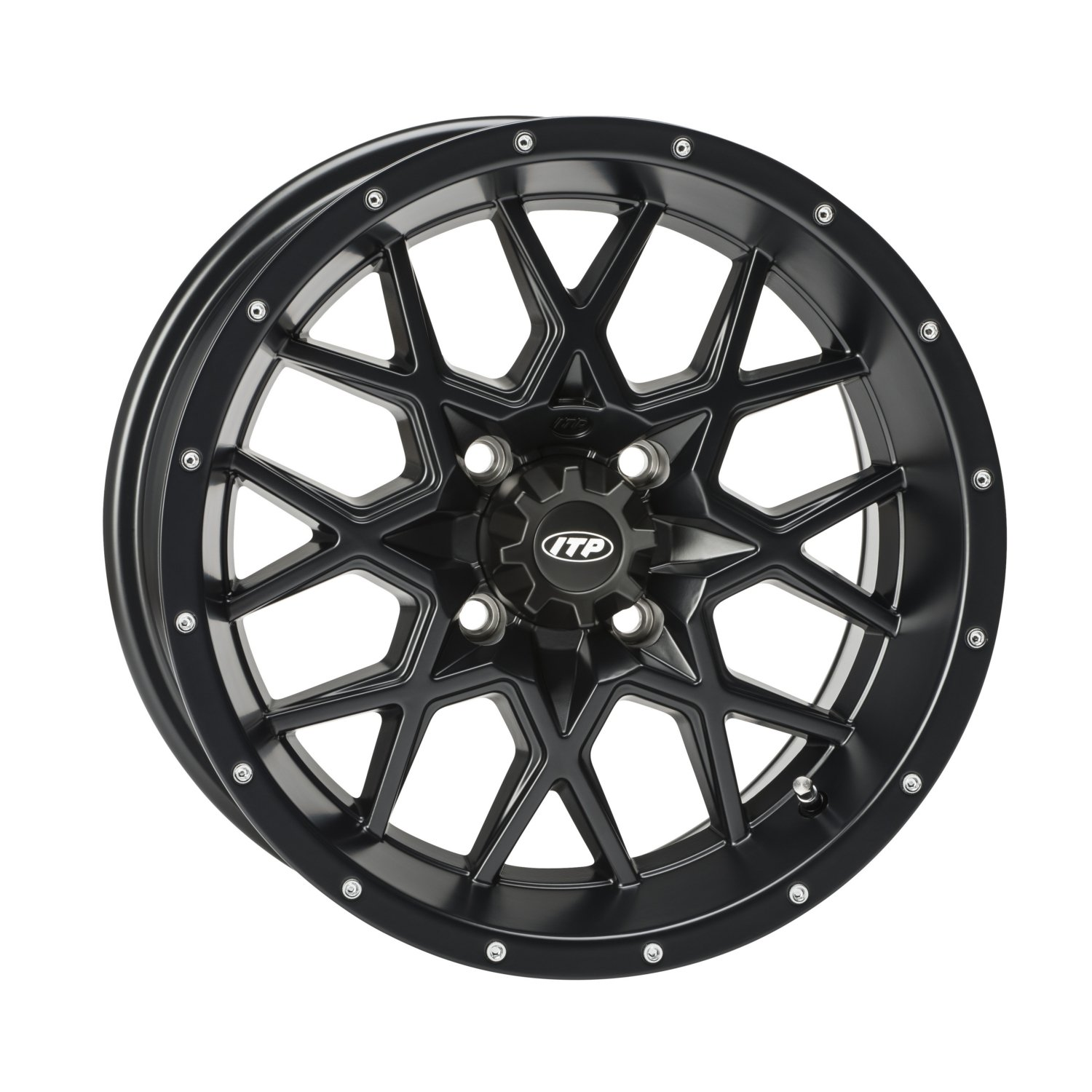 ITP 1428639536B Hurricane Matte Black Wheel with Machined Finish (14x7''/4x4mm)