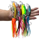 Damidel 4Pcs Large Simulation Squid Fishing Lures Bait Kit,3D Holographic Eyes,Built-in Multicolored Lead Blocks Through Heav