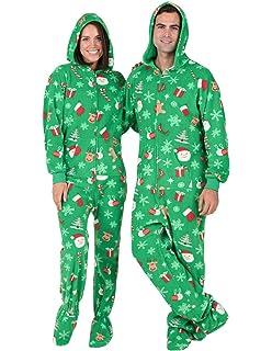 73e1adf44fe8 Amazon.com  Footed Pajamas - Holly Jolly Christmas Adult Hoodie ...