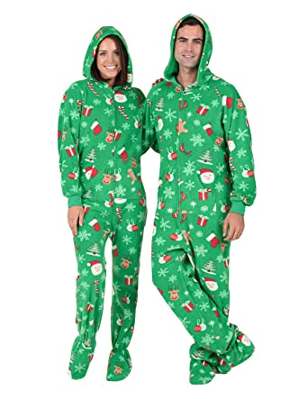 9a437c12a8 Footed Pajamas - Tis The Season Adult Hoodie Fleece Onesie - Double XL Wide