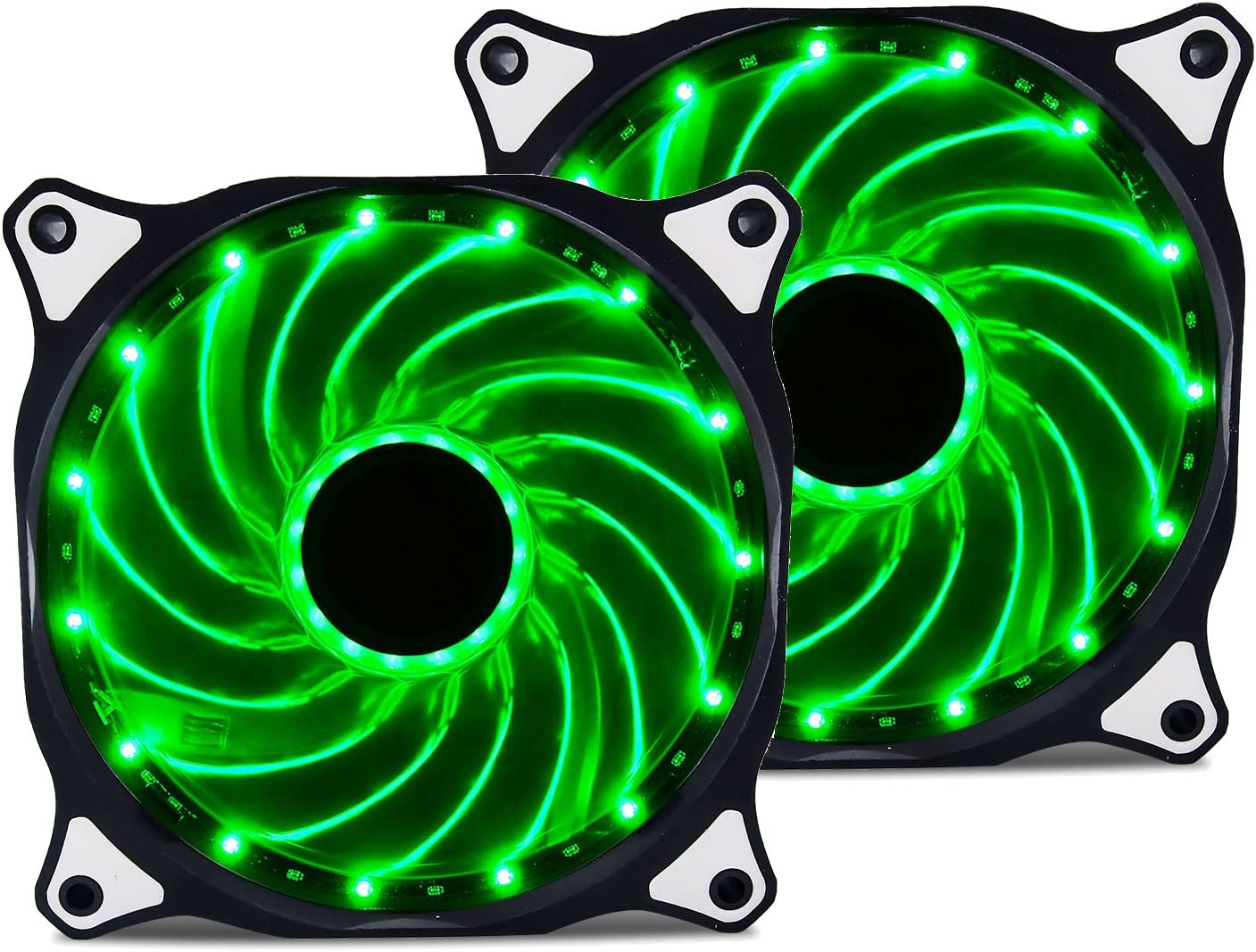 Vetroo 120mm Green 15-LEDs Cooling Fan for Computer PC Cases, CPU Coolers and Radiators, 2-Pack