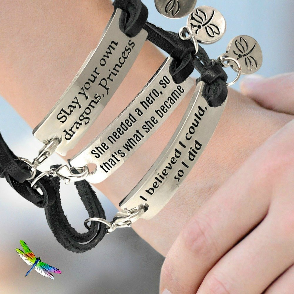 Inspirational Sayings Jewelry Bracelet Silver Plated Dragonfly Tag Fits Teens, Girls, Boys, Women, Men (Wake Up Kick Ass Repeat) by Dragonfly Spirit Designs (Image #4)