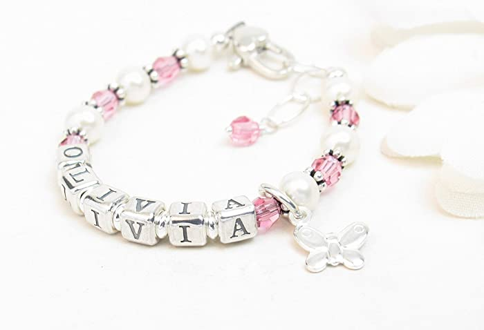 Amazon Com Real Pearl Baby Girl Bracelet Personalized Baby