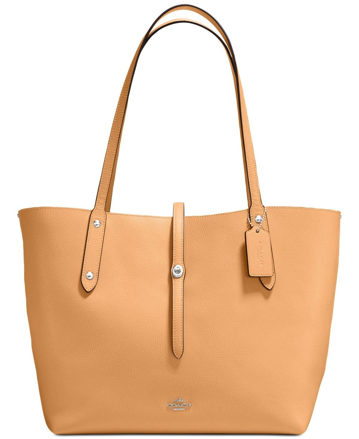 COACH Women's Polished Pebbled Leather Market Tote Sv/Light Saddle Cloud Handbag