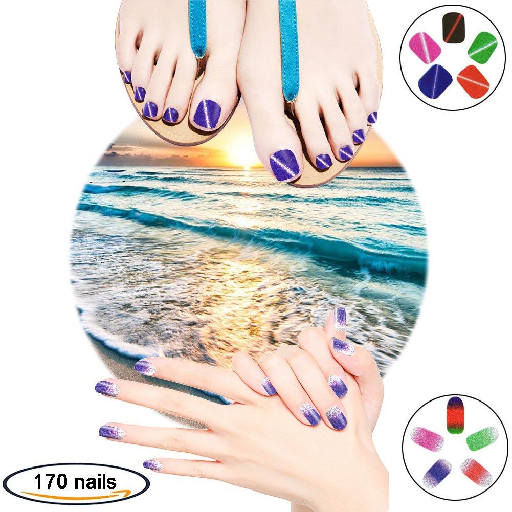 Shiny Summer Gel Nail Art Stickers Strips Gift Pack for Fake Nails Women Girls Kids, VIWIEU Glitter False Full Toenail Wraps Tips DIY Manicure and Pedicure Nail Beauty Set