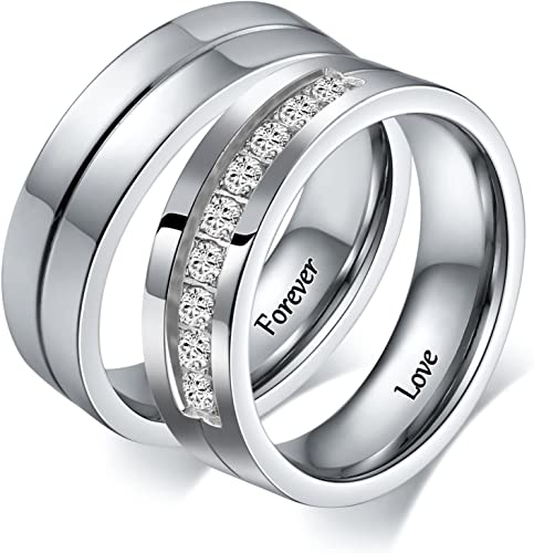 Amazon Com Aeici 2 Pcs Couple Rings Stainless Steel Wedding Rings For Men Women Personalized Size 5 Size 10 Jewelry