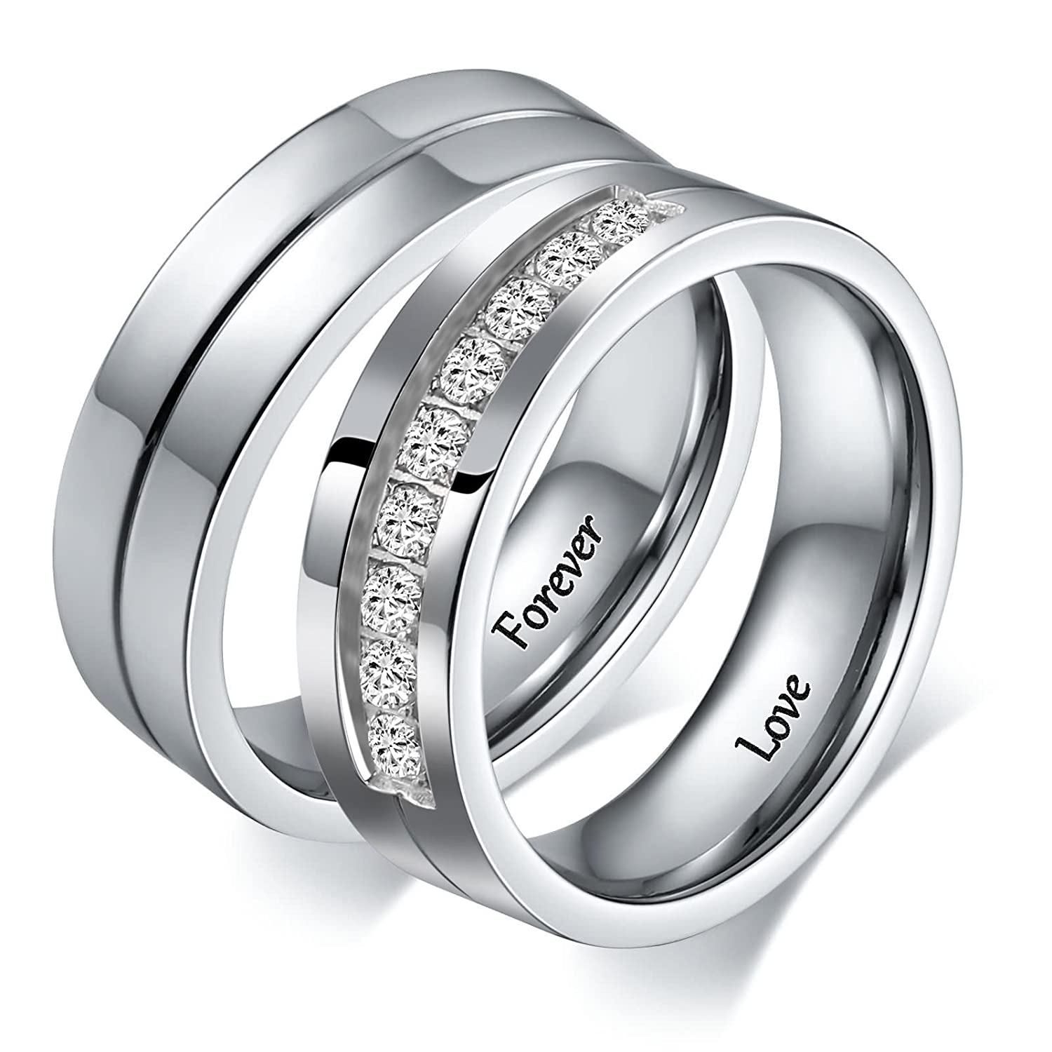 ecf50624d2 Amazon.com: Aeici 2 PCS Couple Rings Stainless Steel Wedding Rings for Men  Women Personalized Size 5 & Size 10: Jewelry