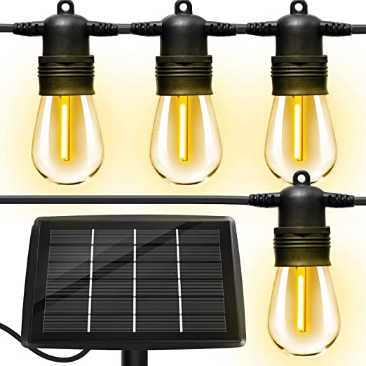 Solar Outdoor String Lights with 16pcs Shatterproof Bulbs,50Ft Vintage Edison Bulbs Commercial Grade Weatherproof Strand Heavy-Duty Decorative LED for Patio,Backyard,Porch,Garden