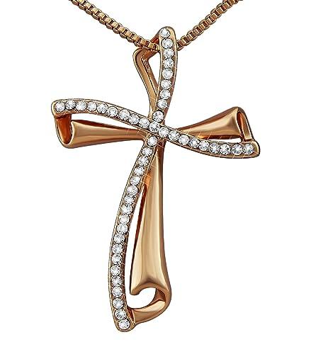 Damen-Schmuck Halskette Rosé-Gold Strass-Steinen Frau Geschenk zu Weihnachten