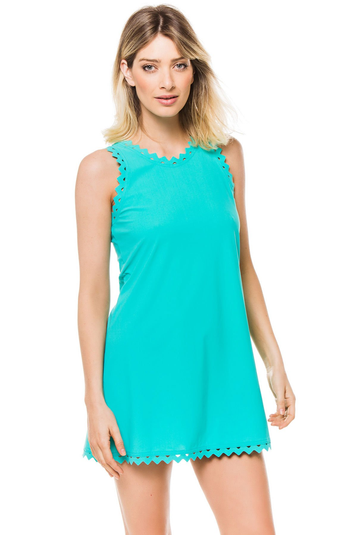 Karla Colletto Women's Rick Rack Tank Dress Swim Cover Up Aqua S by Karla Colletto