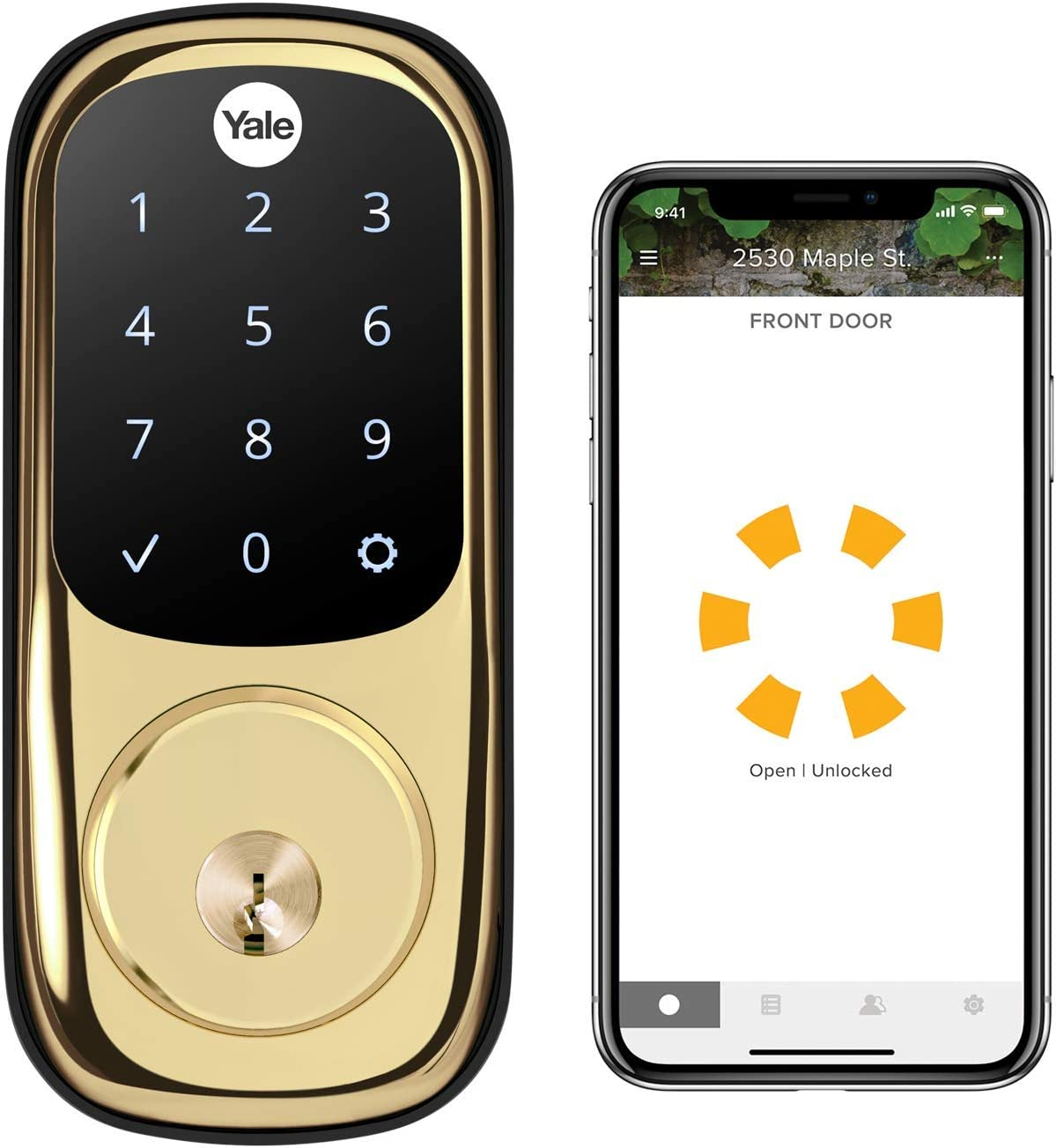 Yale Assure Lock Touchscreen with Wi-Fi and Bluetooth Deadbolt - Works with Amazon Alexa, Google Assistant, HomeKit, Airbnb and More - Brass