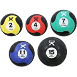 Cando-69730 Rubber Medicine Balls, Set of five, 2, 4, 7, 11 and 15 lbs