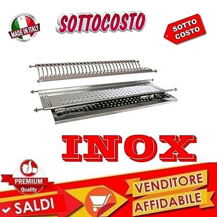 SCOLAPIATTI COLAPIATTI AD INCASSO DI 76 CM ACCIAIO INOX CON BASE ...