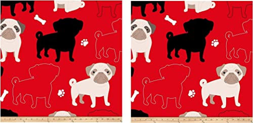 David Textiles Prints Oh My Pug-Ness Fleece, Red wo ack